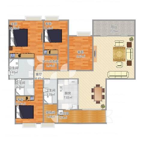 虎门一号4室1厅3卫1厨169.00㎡户型图