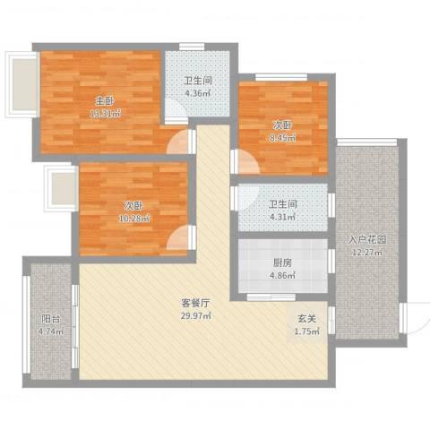 皇庭国际1号3室2厅2卫1厨116.00㎡户型图