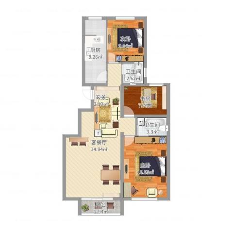 晨曦家园3室2厅2卫1厨107.00㎡户型图