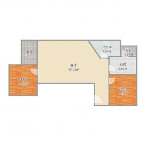 风度国际名苑2室1厅1卫1厨162.00㎡户型图