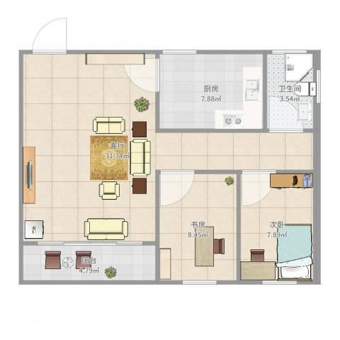河畔花园2室1厅1卫1厨80.00㎡户型图
