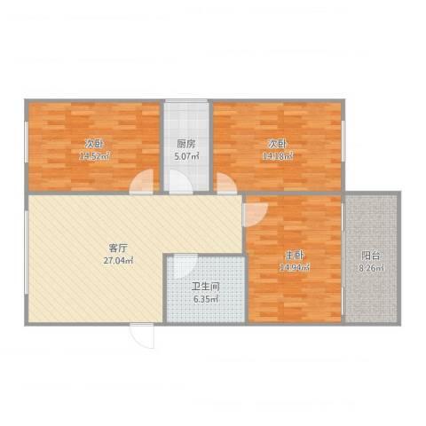 佳旺花园3室1厅1卫1厨121.00㎡户型图