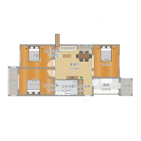 乐豪斯-邮电公寓三室两厅HS0113室2厅1卫1厨113.00㎡户型图