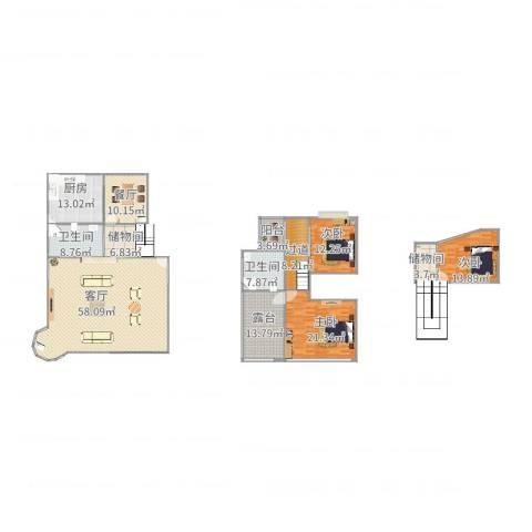 欧风花都3室2厅2卫1厨242.00㎡户型图