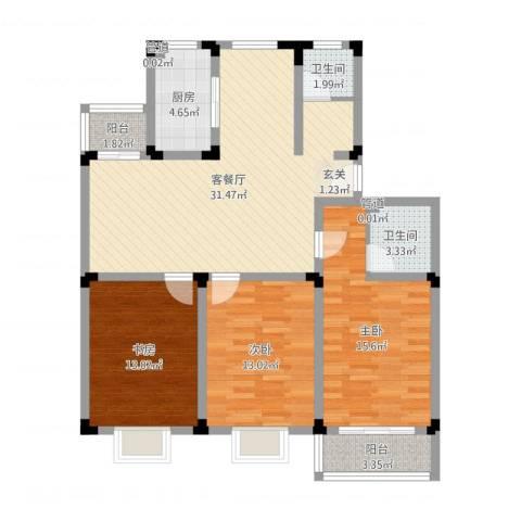 鸿运苑3室2厅2卫1厨110.00㎡户型图