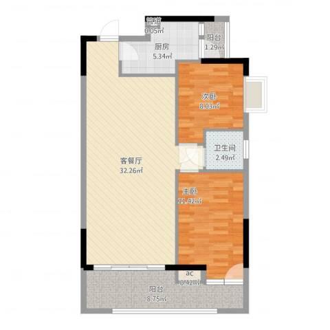 百合雅居2室2厅1卫1厨98.00㎡户型图