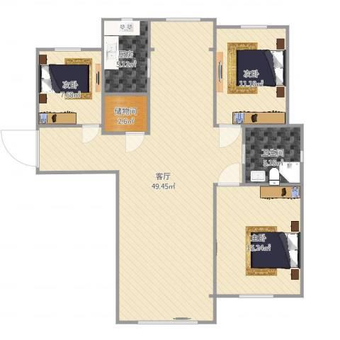 红星海岚谷3室1厅1卫1厨121.00㎡户型图