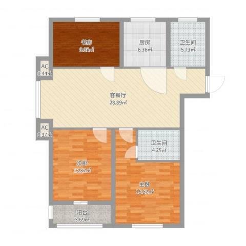 金色蓝庭3室2厅4卫1厨111.00㎡户型图