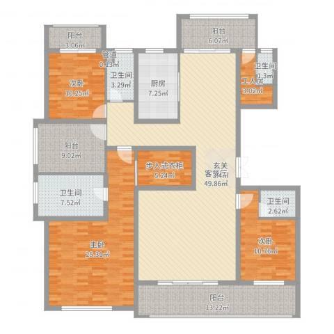 姑苏公馆3室2厅4卫1厨197.00㎡户型图