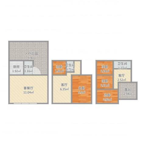 新创大河山5室4厅3卫1厨65.00㎡户型图