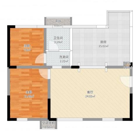 蓝光COCO蜜城2室1厅1卫1厨81.00㎡户型图