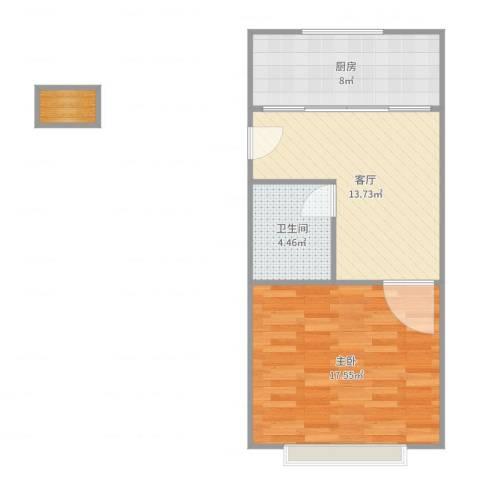 上南十村1室1厅1卫1厨56.00㎡户型图