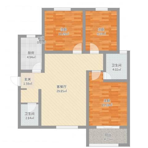 滨港龙湾3室2厅2卫1厨100.00㎡户型图