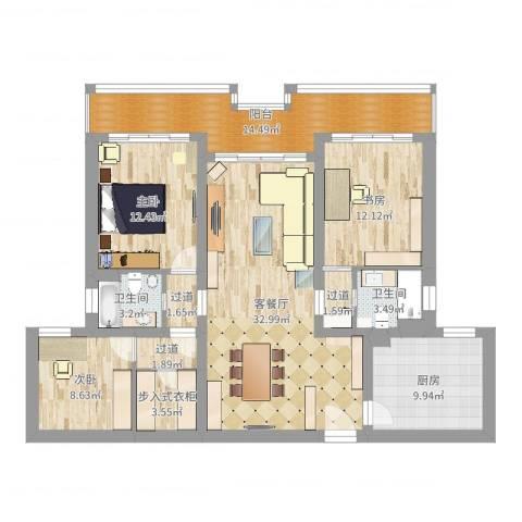 盛源大厦公寓3室2厅2卫1厨132.00㎡户型图