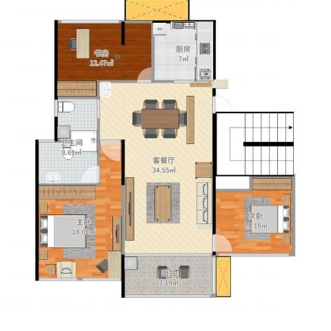 东湖怡景园3室2厅1卫1厨124.00㎡户型图