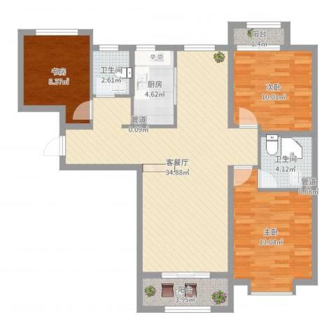 七里河・佳洲美地3室2厅4卫1厨119.00㎡户型图