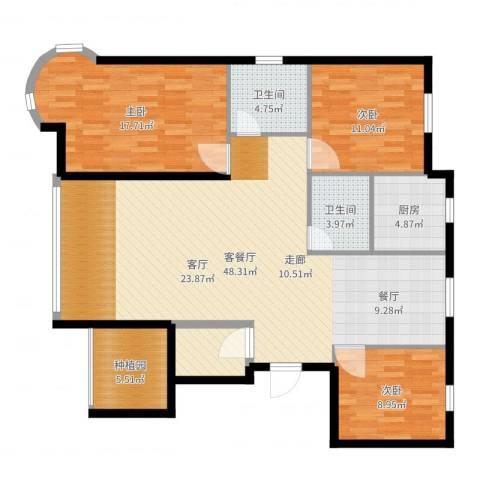 金洋石河湾3室2厅2卫1厨135.00㎡户型图