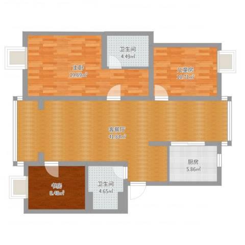 景舒苑一村3室2厅2卫1厨120.00㎡户型图