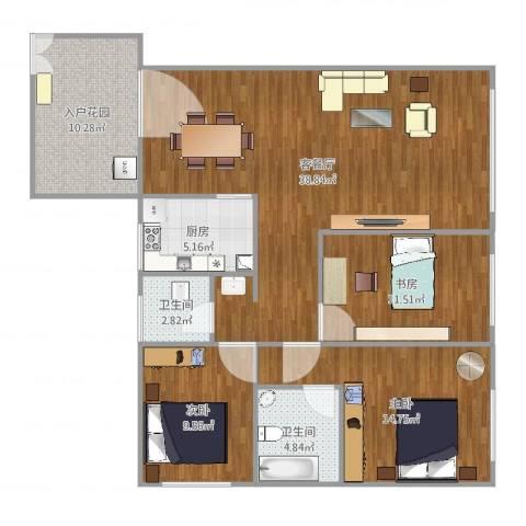 恒远帝都新城3室2厅2卫1厨122.00㎡户型图