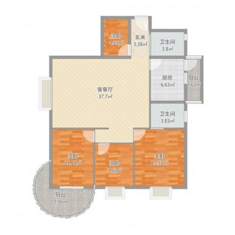 罗宾森广场4室2厅2卫1厨123.00㎡户型图
