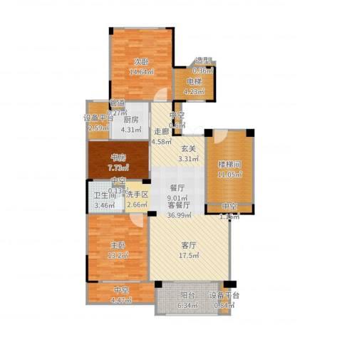 中海篁外山庄3室2厅1卫1厨140.00㎡户型图