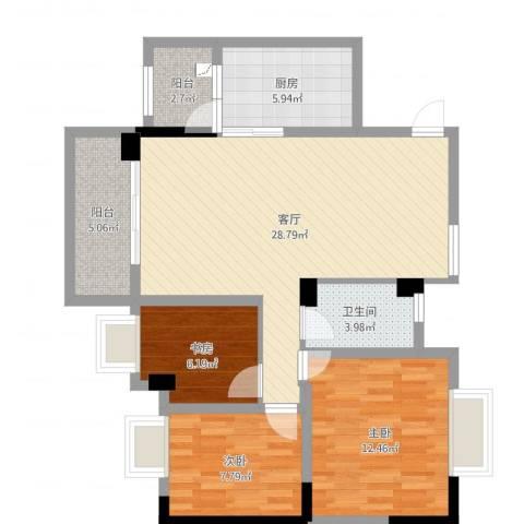 凤凰城凤妍苑9号3室1厅1卫1厨91.00㎡户型图
