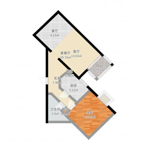 贵仁居1室2厅1卫1厨67.00㎡户型图