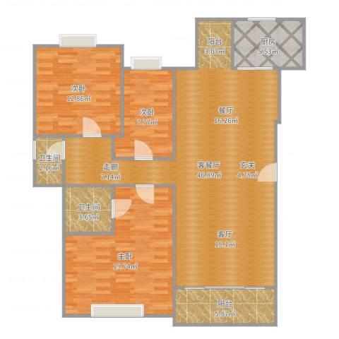 景湖蓝郡二期3室2厅2卫1厨131.00㎡户型图