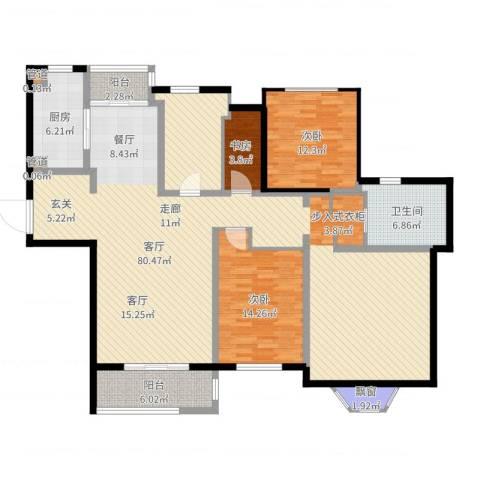 曹路家苑3室1厅1卫1厨167.00㎡户型图