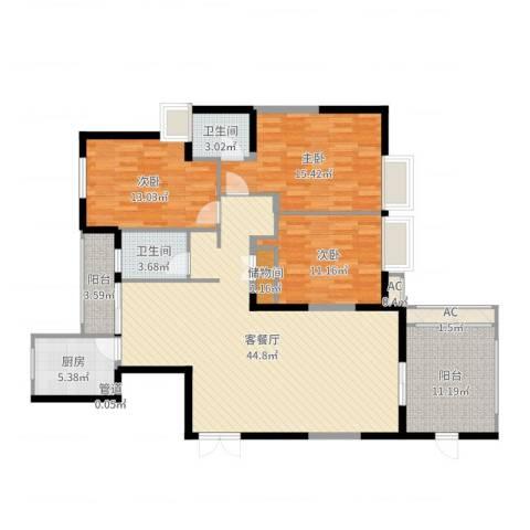 红谷春天3室2厅2卫1厨143.00㎡户型图