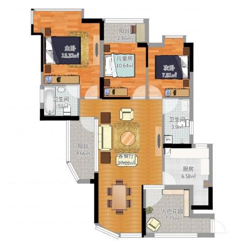 瑞景国际3室2厅2卫1厨109.00㎡户型图