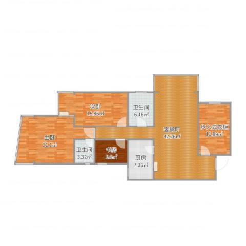 明日家园3室2厅2卫1厨142.00㎡户型图