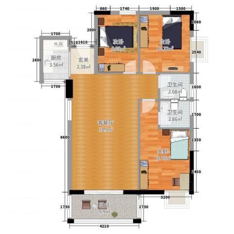 富源世家3室2厅2卫1厨78.29㎡户型图