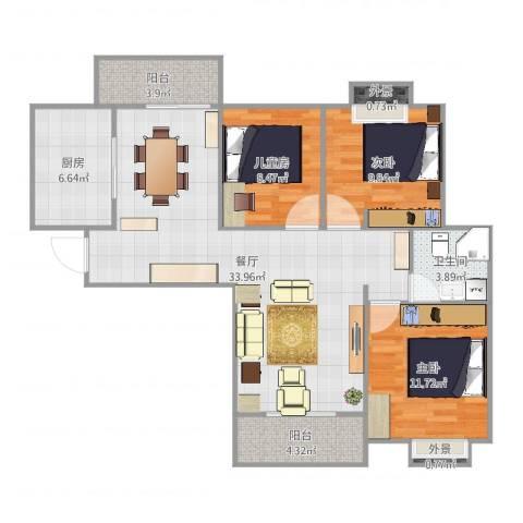 华美达广场3室1厅1卫1厨84.23㎡户型图