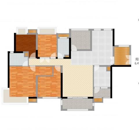 中信凯旋城别墅4室2厅2卫1厨171.00㎡户型图