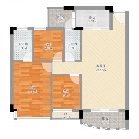 碧湖花园别墅3室2厅2卫1厨78.00㎡户型图