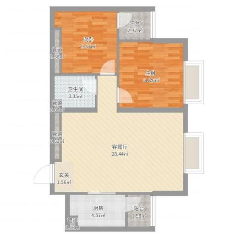 太原奥林匹克花园2室2厅1卫1厨79.00㎡户型图