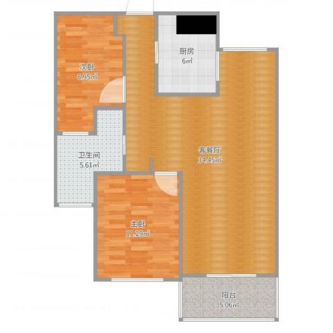 绿地望海新都(绿地领御)2室2厅1卫1厨71.36㎡户型图