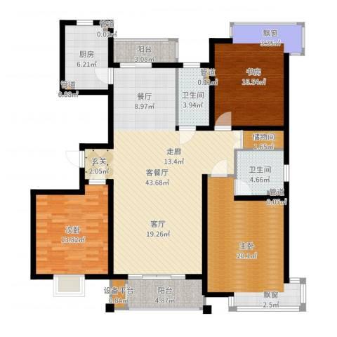 玫瑰993室2厅2卫1厨150.00㎡户型图
