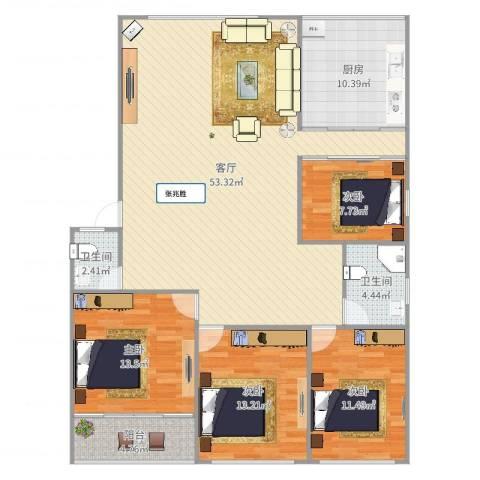 逸东花园4室1厅2卫1厨152.00㎡户型图