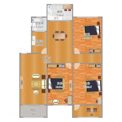 英雄山路单位宿舍3室2厅1卫1厨175.00㎡户型图
