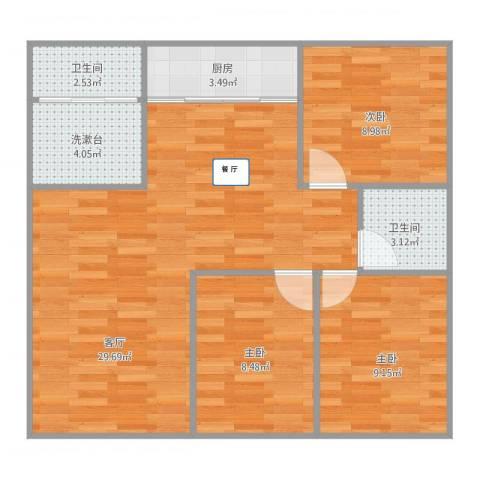 闻钟苑115㎡三房3室1厅2卫1厨94.00㎡户型图