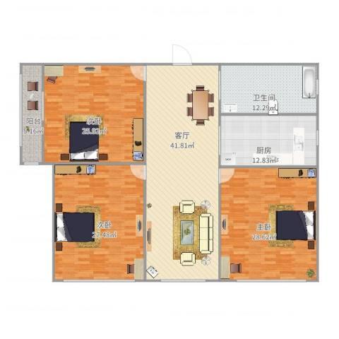 春馨苑3室1厅1卫1厨203.00㎡户型图