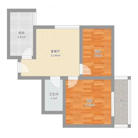 百花园2室2厅1卫1厨68.00㎡户型图