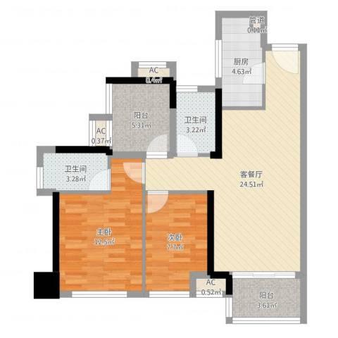 华润城·润府2室2厅2卫1厨83.00㎡户型图