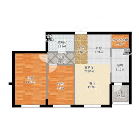 锦湖・金色世家2室2厅1卫1厨81.00㎡户型图