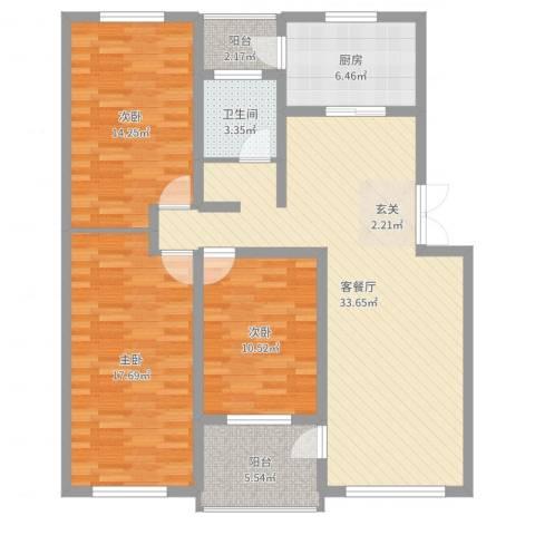 豪苑华庭3室2厅1卫1厨117.00㎡户型图