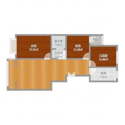 税务局家属院3室2厅2卫1厨126.00㎡户型图