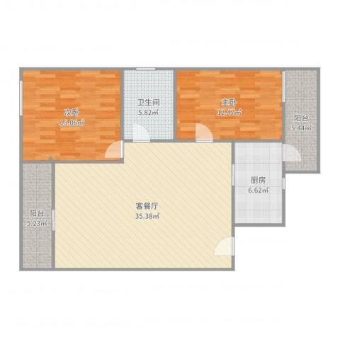 丽日豪庭2室2厅1卫1厨108.00㎡户型图