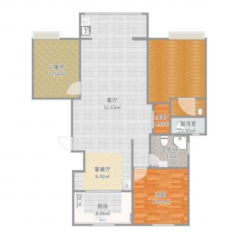 新兴国际文教城3室3厅1卫1厨139.00㎡户型图